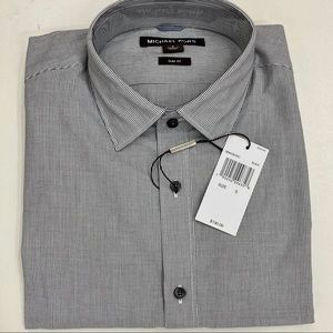 NEW MICHAEL KORS GREY STRIPED SLIM FIT BUTTON DOWN